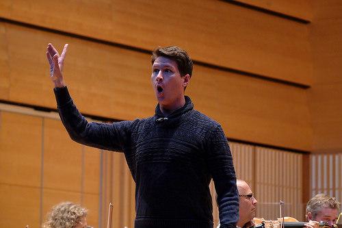 A man singing opera